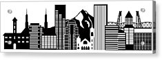 Portland Oregon Skyline Black And White Illustration Acrylic Print by JPLDesigns