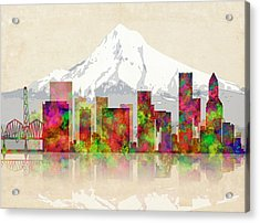Portland Oregon Skyline Acrylic Print by Daniel Hagerman