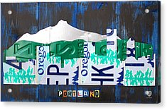 Portland Oregon Skyline License Plate Art Acrylic Print by Design Turnpike