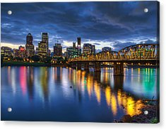 Portland Oregon Waterfront At Blue Hour Acrylic Print by David Gn
