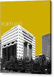 Portland Skyline Ficha Building - Gold Acrylic Print