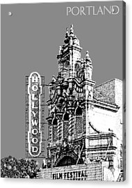 Portland Skyline Hollywood Theater - Pewter Acrylic Print by DB Artist