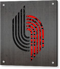 Portland Trailblazers Basketball Team Retro Logo Vintage Recycled Oregon License Plate Art Acrylic Print by Design Turnpike