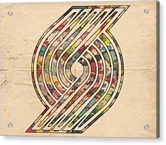 Portland Trailblazers Poster Art Acrylic Print by Florian Rodarte