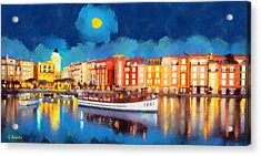 Portofino By Night Acrylic Print by George Rossidis