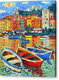 Portovenere Harbor - Italy - Ligurian Riviera - Colorful Boats And Reflections Acrylic Print
