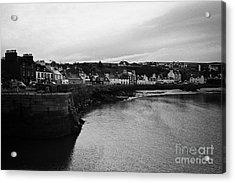 Portpatrick Village And Breakwater Scotland Uk Acrylic Print by Joe Fox