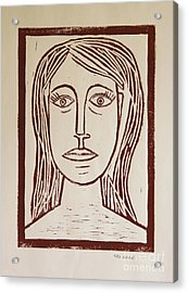 Portrait A La Picasso - Block Print Acrylic Print by Christiane Schulze Art And Photography
