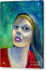 Portrait Art Woman In Red Acrylic Print
