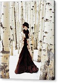 Karen Elson Models Gaultier Acrylic Print