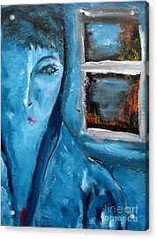 Portrait Bleu Avec Le Fenetre Acrylic Print by Chaline Ouellet