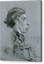 Portrait-charge, C. 1858 Black And White Chalk Acrylic Print