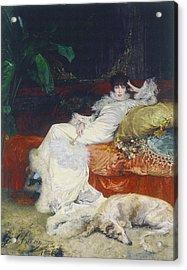Portrait De Sarah Bernhardt Acrylic Print by Celestial Images