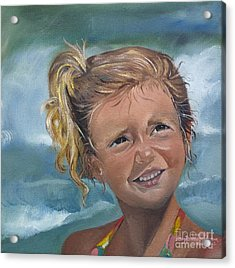 Acrylic Print featuring the painting Portrait - Emma - Beach by Jan Dappen