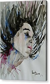 Acrylic Print featuring the painting Portrait- Girl by Ismeta Gruenwald