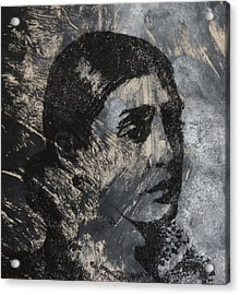Portrait Monoprint Acrylic Print by Rachel Hames