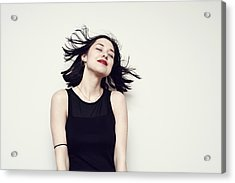 Portrait Of A Carefree Young Woman Acrylic Print by Flashpop