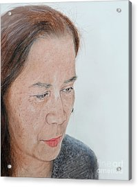 Portrait Of A Filipina In Thought  Acrylic Print