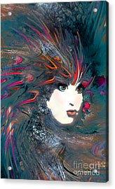 Portrait Of A Flamboyant Woman Acrylic Print by Doris Wood