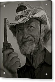 Portrait Of A Joyful Gunslinger . Viewed 244 Times  Acrylic Print by  Andrzej Goszcz