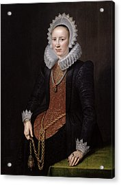 Portrait Of A Lady Aged 29, 1615 Oil On Panel Acrylic Print
