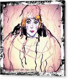 Portrait Of A Lady En Face After Gustav Klimt Acrylic Print by Anna Porter