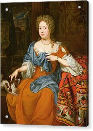 Portrait Of A Lady In A Red Dress, 1691 Acrylic Print