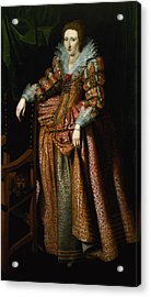 Portrait Of A Lady Said To Be From The Coudenhouve Family Of Flanders, C.1610-20 Oil On Canvas Pair Acrylic Print