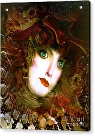Portrait Of A Lady With A Red Hat Acrylic Print by Doris Wood