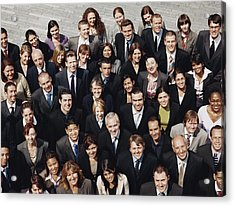 Portrait Of A Large Group Of Business People Standing Outdoors Acrylic Print by Digital Vision.