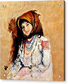 Portrait Of A Little Peasant Girl.. Acrylic Print