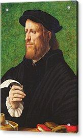 Portrait Of A Man, 1575 Oil On Wood Acrylic Print