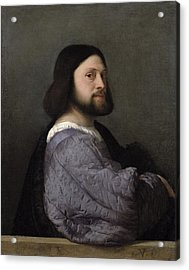 Portrait Of A Man, C.1512 Oil On Canvas Acrylic Print by Titian