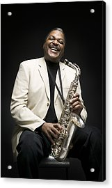 Portrait Of A Man Holding A Saxophone Acrylic Print by Photodisc