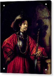 Portrait Of A Man In Military Costume Acrylic Print by Rembrandt Harmensz. van Rijn