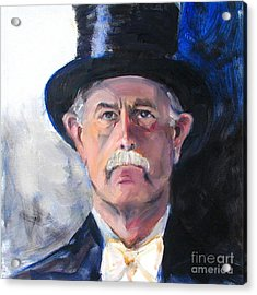 Acrylic Print featuring the painting Portrait Of A Man In Top Hat by Greta Corens