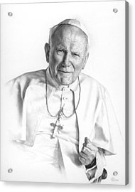 Acrylic Print featuring the drawing Portrait Of A Saint by Smith Catholic Art