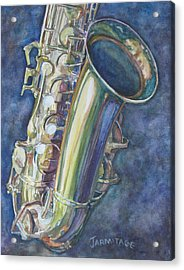 Portrait Of A Sax Acrylic Print by Jenny Armitage