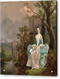Portrait Of A Woman Girl With A Book Seated In A Park Acrylic Print