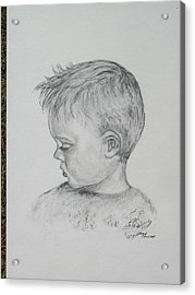 Portrait Of A Young Boy Acrylic Print by Paula Rountree Bischoff