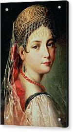 Portrait Of A Young Girl In Sarafan And Kokoshnik Acrylic Print