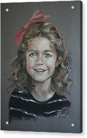 Portrait Of A Young Girl Acrylic Print by Mary Machare