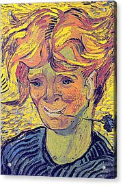 Portrait Of A Young Man With Cornflower Acrylic Print by Vincent Van Gogh