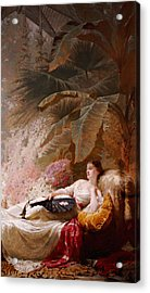 Portrait Of Adelaide Maria Guiness Reclining On A Sofa In A Conservatory Acrylic Print by George Elgar Hicks