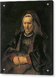 Portrait Of An Elderly Woman, C. 1650 Acrylic Print by Rembrandt Harmensz. van Rijn