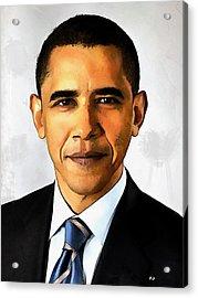 Portrait Of Barack Obama Acrylic Print by Kai Saarto