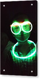 Portrait Of Boy With Illuminated Neon Ring And Eyeglasses In Darkroom Acrylic Print by Sharon Kozik / EyeEm
