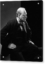 Portrait Of British Prime Minister Winston Acrylic Print by Edward Steichen
