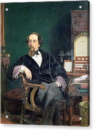 Portrait Of Charles Dickens Acrylic Print by William Powell Frith