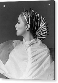 Portrait Of Chris Royer With Hair Clips Acrylic Print
